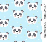 cute seamless pattern for... | Shutterstock .eps vector #608869337