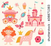 set of illustrations with... | Shutterstock .eps vector #608871383