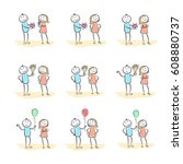 set hand drawn happy people... | Shutterstock .eps vector #608880737
