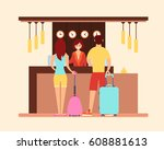young tourist couple in the... | Shutterstock .eps vector #608881613