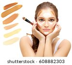 contouring.make up woman face.... | Shutterstock . vector #608882303