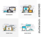 modern flat color line designed ... | Shutterstock .eps vector #608882483