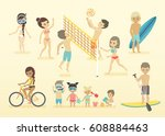 people on the beach. vector... | Shutterstock .eps vector #608884463