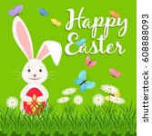 happy easter vector elements... | Shutterstock .eps vector #608888093
