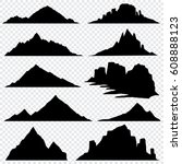 mountain ranges black vector... | Shutterstock .eps vector #608888123