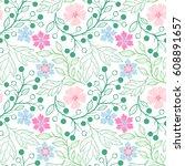 seamless pattern.spring pattern ... | Shutterstock .eps vector #608891657