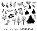 hand drawn black silhouette of... | Shutterstock .eps vector #608893667