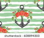 seamless sea pattern with... | Shutterstock .eps vector #608894303