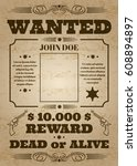 wanted dead or alive western... | Shutterstock .eps vector #608894897