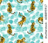 tropical seamless pattern with... | Shutterstock .eps vector #608895917
