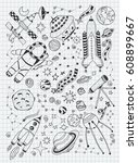 space doodles objects hand... | Shutterstock .eps vector #608899667