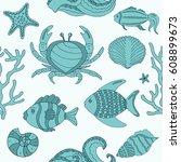 vector seamless pattern... | Shutterstock .eps vector #608899673