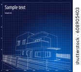 architecture grid blueprint... | Shutterstock .eps vector #608905403