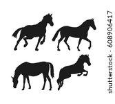 Stock vector wild horses silhouette set vector illustration 608906417
