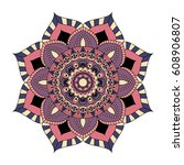 flower mandalas. vintage...   Shutterstock .eps vector #608906807