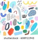 creative seamless pattern.... | Shutterstock .eps vector #608911943