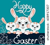three white vector easter bunny ... | Shutterstock .eps vector #608917307