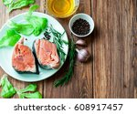fresh fish and vegetables on a... | Shutterstock . vector #608917457