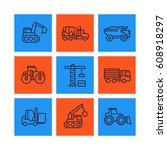 construction vehicles line...   Shutterstock .eps vector #608918297