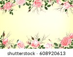 postcard with delicate flowers... | Shutterstock .eps vector #608920613