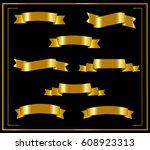 set of gold ribbons. ribbon on... | Shutterstock .eps vector #608923313