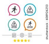caution wet floor icons. human...   Shutterstock .eps vector #608926253
