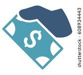 cash payment hand glyph... | Shutterstock . vector #608934443
