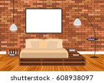 mockup living room interior in... | Shutterstock .eps vector #608938097