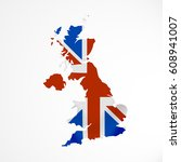 great britain flag in form of... | Shutterstock .eps vector #608941007