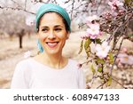 outdoor portrait of 40 years... | Shutterstock . vector #608947133