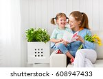 happy mother's day  child... | Shutterstock . vector #608947433