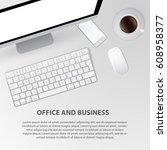 top view of modern technology... | Shutterstock .eps vector #608958377