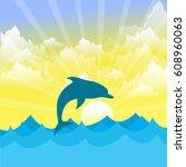 dolphin   ocean wildlife... | Shutterstock .eps vector #608960063