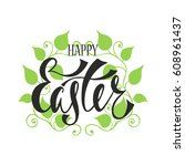 happy easter greeting card.... | Shutterstock .eps vector #608961437