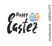 happy easter greeting card.... | Shutterstock .eps vector #608961473
