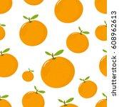seamless pattern with mandarin... | Shutterstock .eps vector #608962613