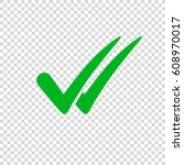 check mark icon on transparent...   Shutterstock .eps vector #608970017