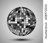 sphere divided into squares of... | Shutterstock .eps vector #608972033