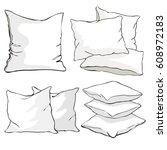 pillow cushion  pillow on white ...   Shutterstock .eps vector #608972183