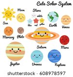 cute galaxy  space  solar... | Shutterstock .eps vector #608978597