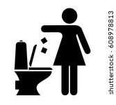 woman littering in toilet sign... | Shutterstock .eps vector #608978813