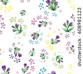 seamless floral pattern  spring ... | Shutterstock .eps vector #608981123