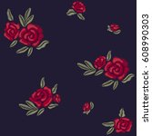 embroidery. red roses. flowers... | Shutterstock .eps vector #608990303