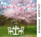 spring garden party. table with ... | Shutterstock .eps vector #608997437