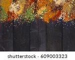 set of various aromatic...   Shutterstock . vector #609003323