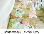 1 month old sleeping baby in a... | Shutterstock . vector #609014297