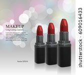 makeup ads template. 3d... | Shutterstock .eps vector #609016433