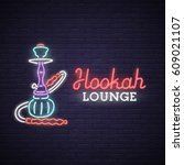 Neon Sign Of Hookah. Bright...