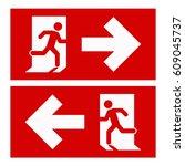 emergency exit left   emergency ... | Shutterstock .eps vector #609045737