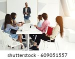 experienced speaker explaining... | Shutterstock . vector #609051557
